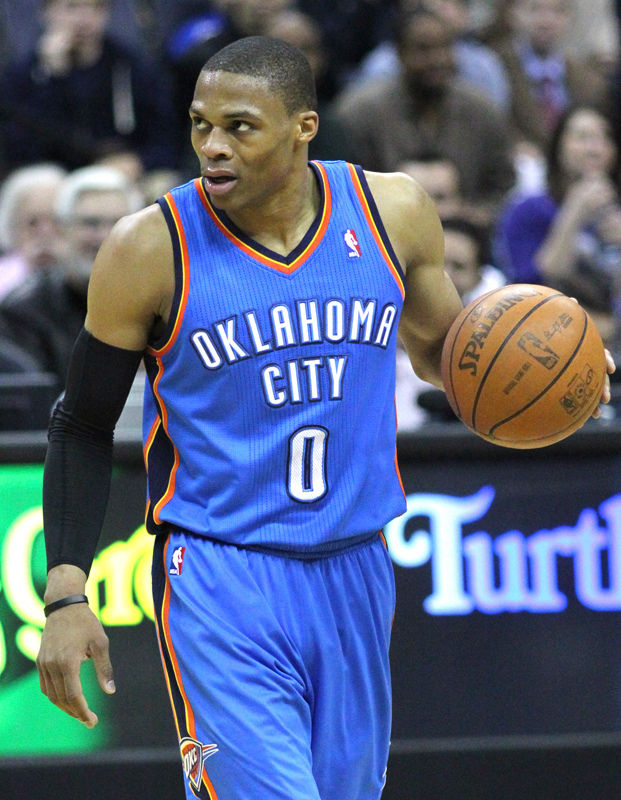 Russell Westbrook signed a five-year, $80 million extension with OKC. (credit: Courtesy of Keith Allison via Flickr)
