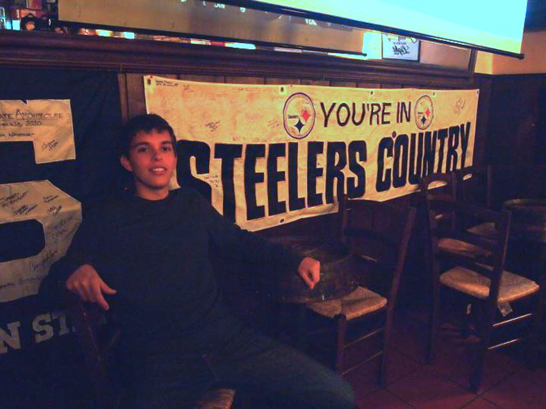 A small bar in Rome, La Botticella, shows every Steelers game live on a projection screen. (credit: Courtesy of Nick Guesto)