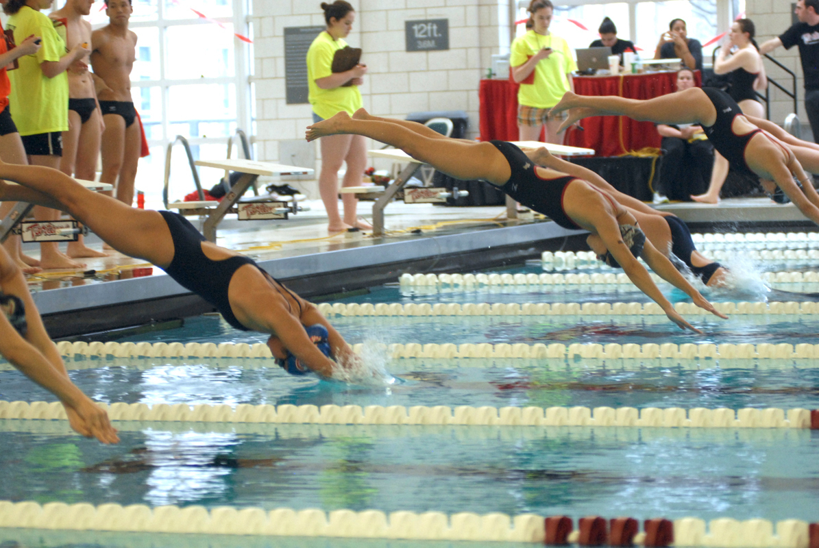 The swimmers dive off the blocks and into the water to begin the race. (credit: File Photo by Jennifer Coloma)