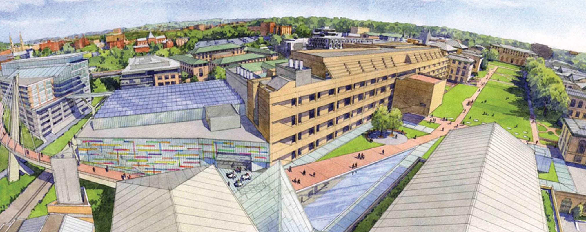 The new building will sit among Wean, Hamerschlag, and Roberts Engineering halls, as seen above in the artist's rendition created by the architectural firm designing the building, OFFICE 52. (credit: Courtesy of OFFICE 52)