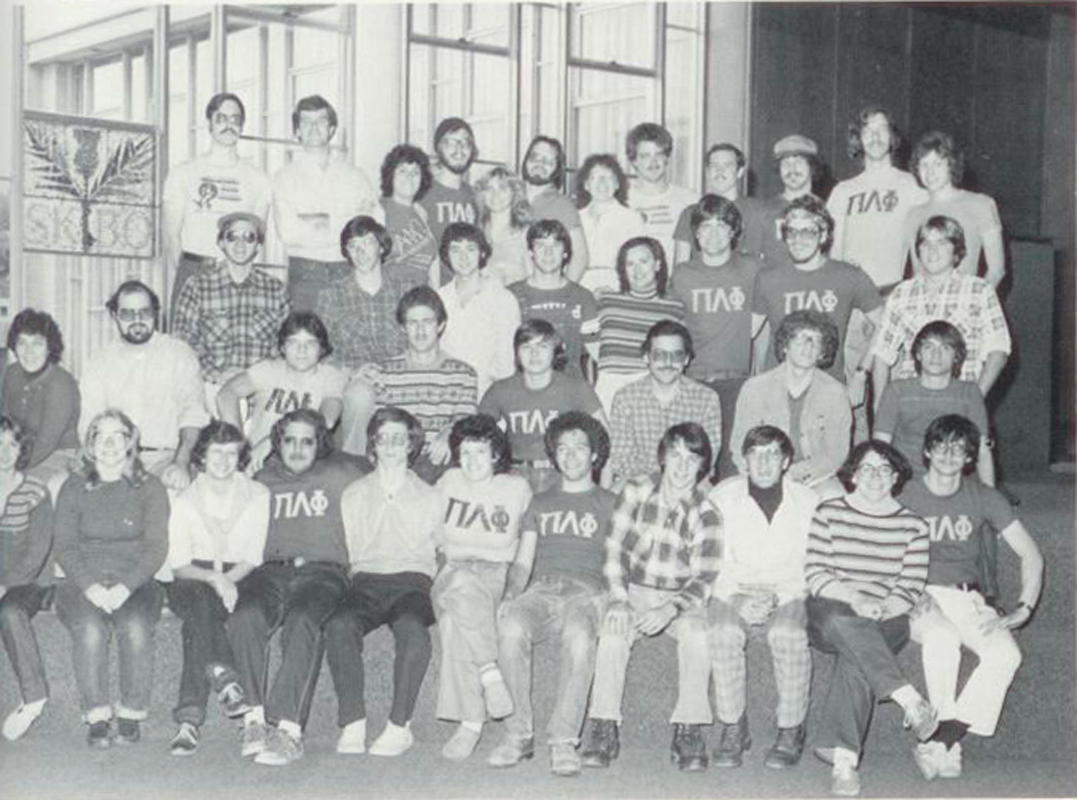A group photo of Pi Lambda Phi (Zaslow: second row, second from right). (credit: Courtesy of The Thistle)