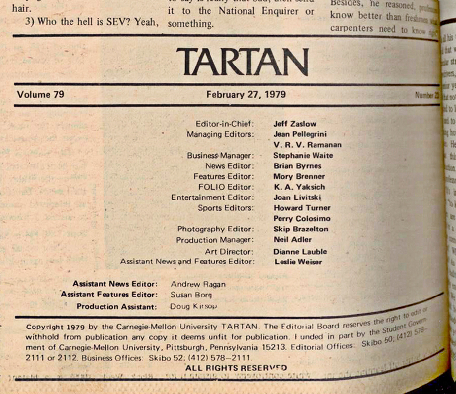 The Tartan's masthead during Zaslow's 