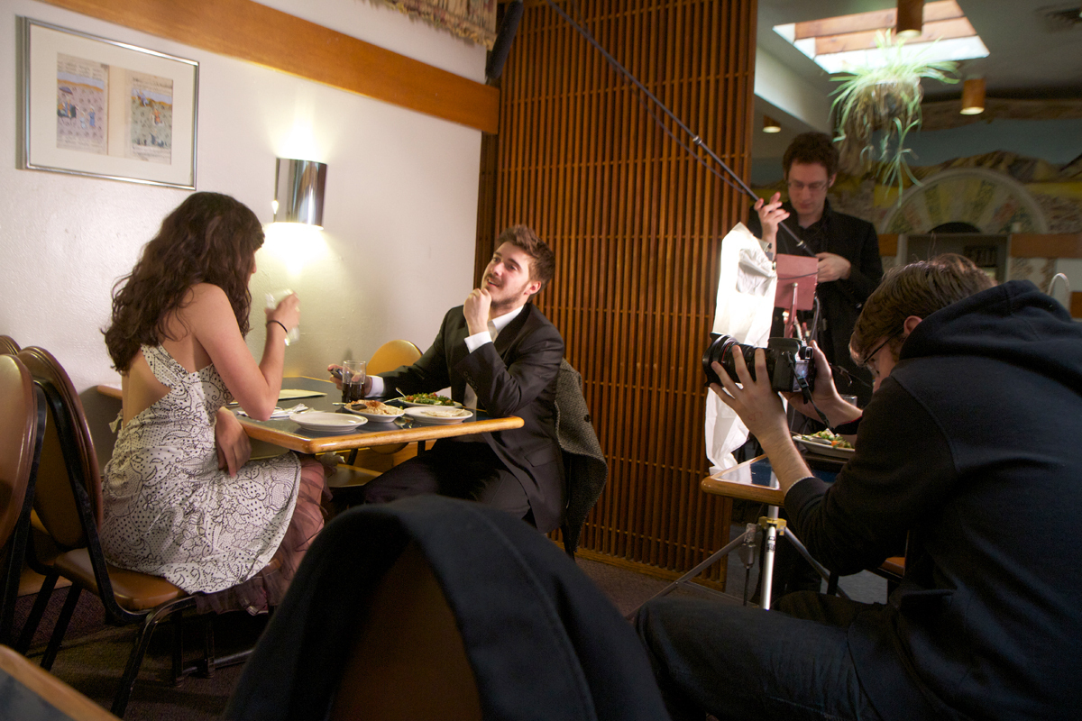 The Echo Chamber cast and crew film a scene at Ali Baba's on Craig Street. (credit: Jonathan Carreon/Photo Editor)