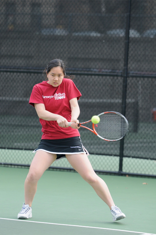 Senior Laura Chen dominated her matches at No. 1 singles and doubles this weekend. (credit: Tommy Hofman/)