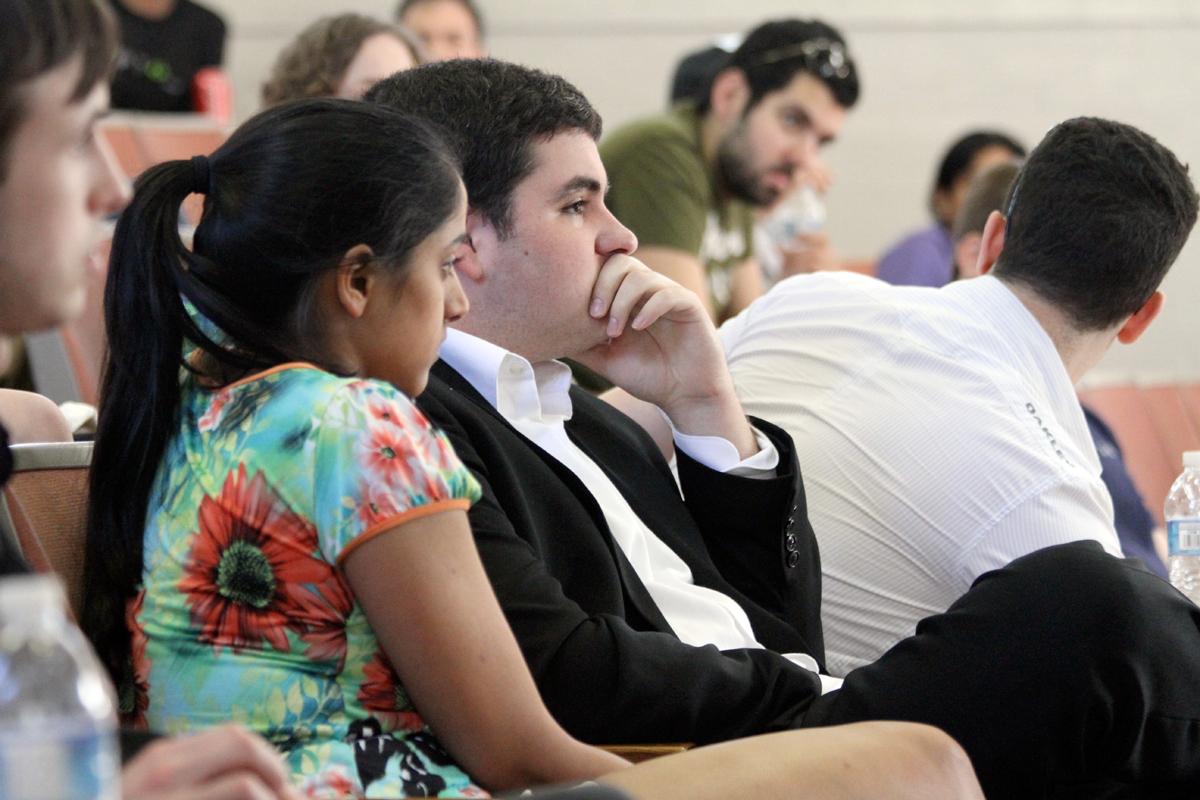 Student Body President Jake Flittner and Vice President Sangita Sharma listen to arguments against Flittner. (credit: Jonathan Carreon/Photo Editor)