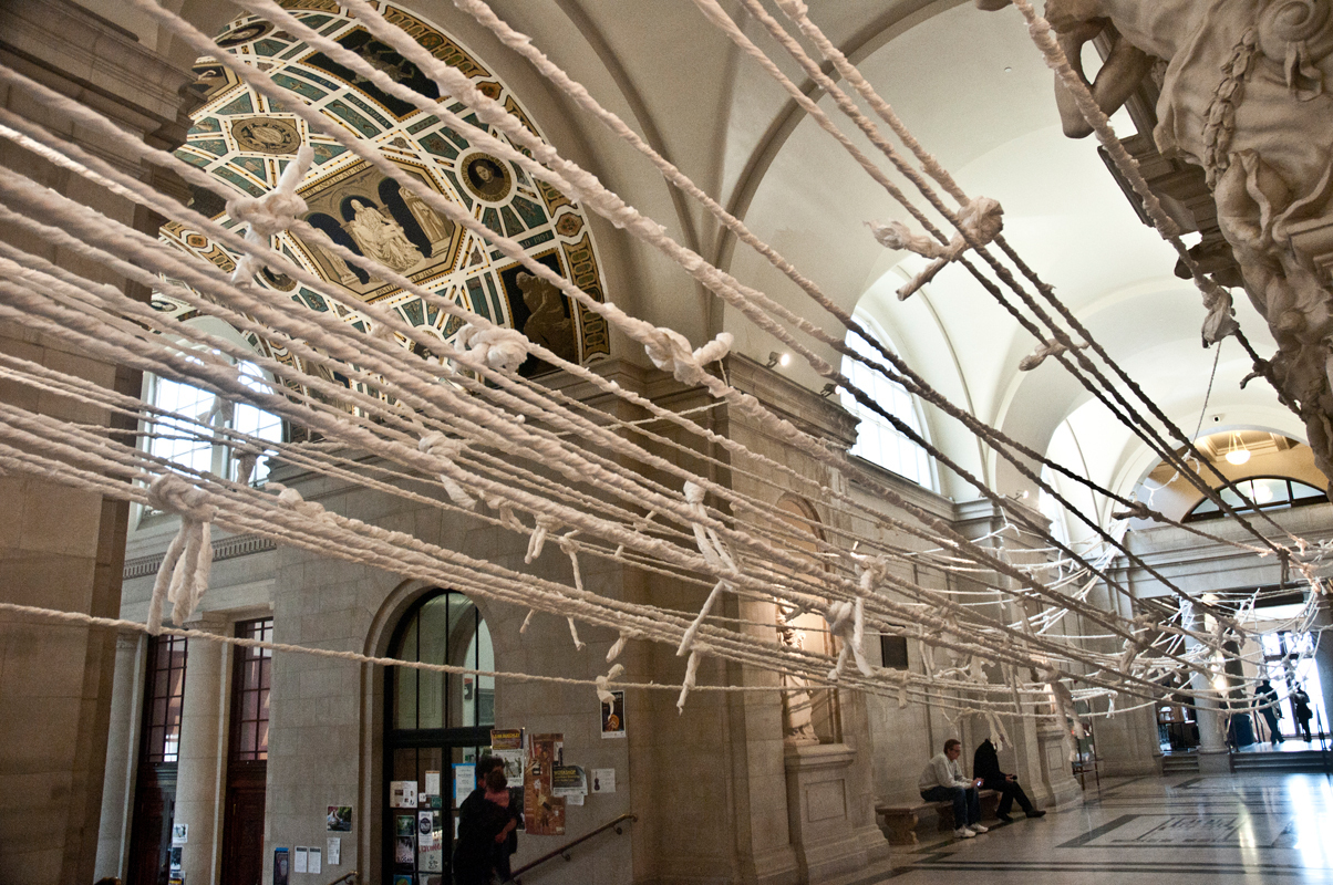 """Wade Kavanaugh and Stephen Nguyen were originally intimidated by the venue for their installation """"Tug O' War."""" """"[The Great Hall] was beautiful and we didn't want to screw it up,"""" Kavanaugh said. """"We were really scared by it."""" (credit: Allison Cosby/Pillbox Editor)"""