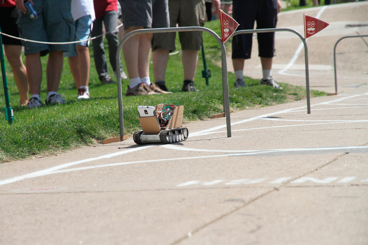 Team Gaussian Blur's mobot was the only competitor to finish the course this year.   (credit: Jonathan Carreon/Photo Editor)