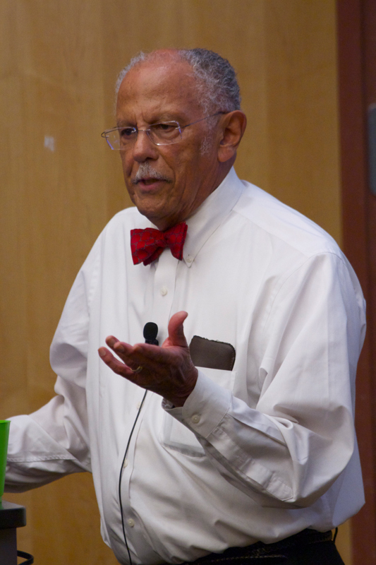 Warren Washington, an atmospheric scientist, said in his talk on Tuesday that we must reduce greenhouse pollutant emissions. (credit: Jonathan Carreon/Photo Editor)