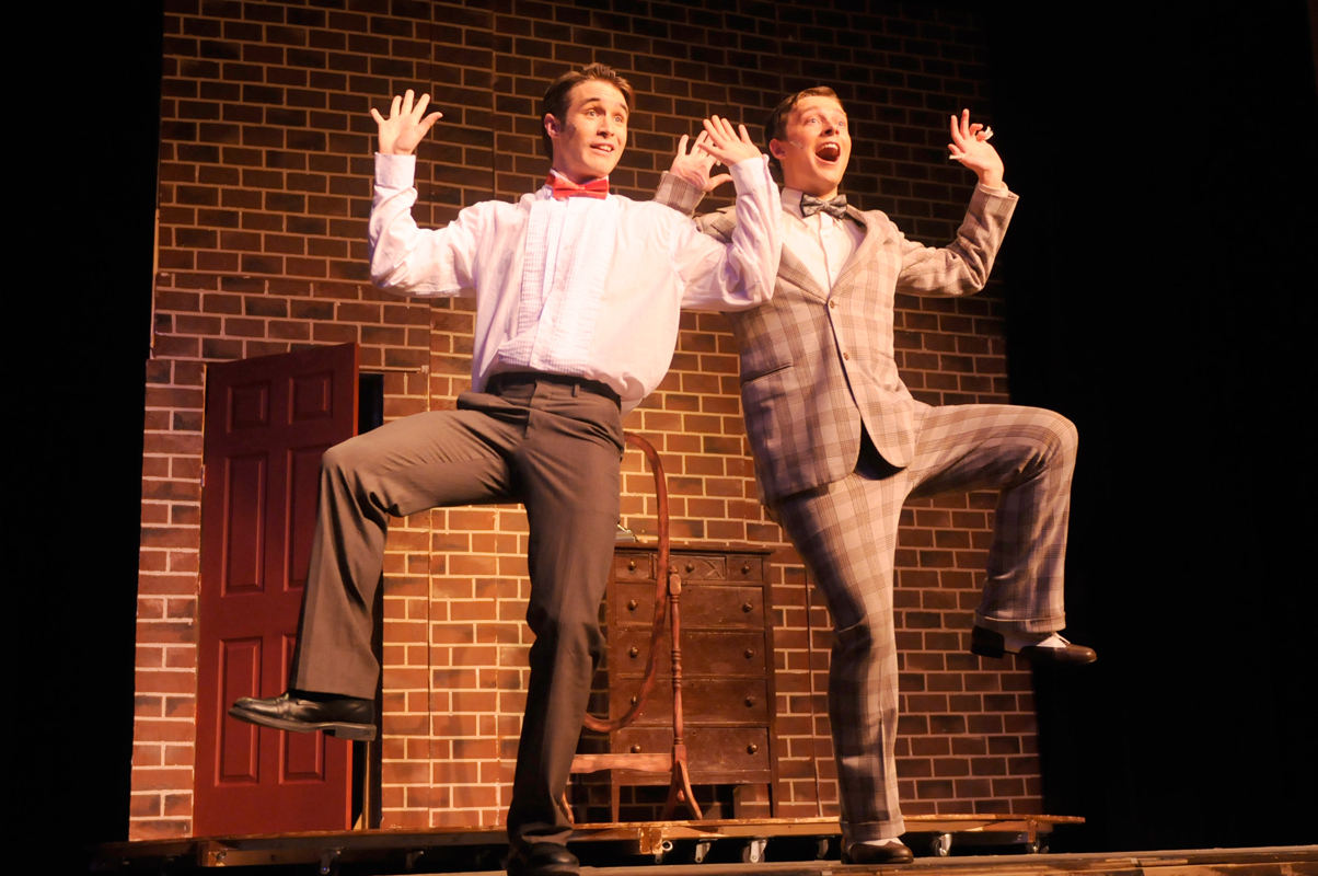 The groom (left, played by senior voice major Sean Pack) and his best man (first-year voice major Ethan Crystal) perform a jaunty musical number about wedding-day jitters. (credit: Courtesy of Guillermo Gomez)