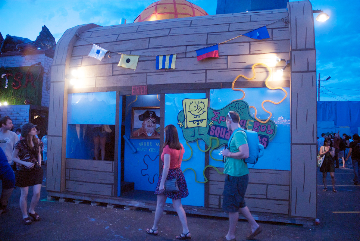 Sigma Phi Epsilon's Spongebob-themed booth drew attention from visitors by its impressive exterior. (credit: Kate Groschner/)