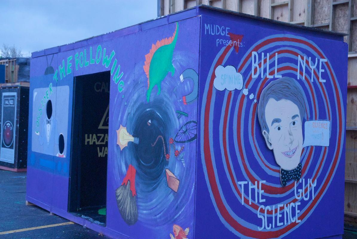 First-year dorm Mudge House built the Bill Nye the Science Guy booth. (credit: Kate Groschner/)