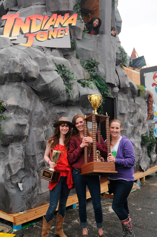 Kappa Alpha Theta sisters hold their first place Booth trophy up in front of their booth.  (credit: Courtesy of Guillermo Gomez)