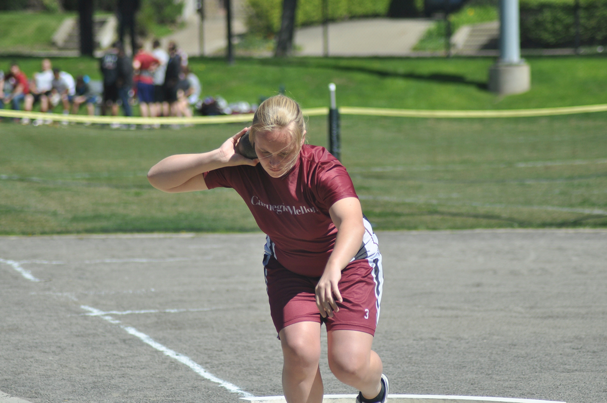 Senior Kaitlan Ahrens threw 9.27 meters in shotput Saturday at the Ed Fry Invitational. (credit: File Photo by Jonathan Carreon )