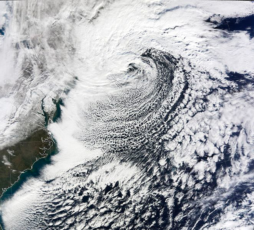 Nor'easters, large weather systems that typically move up the East Coast, drop large amounts of precipitation. (credit: Courtesy of Wikimedia Commons)