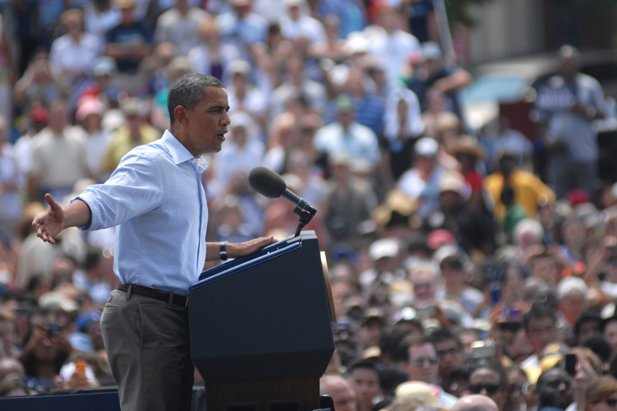 President Barack Obama addresses a crowd of thousands Friday on the CFA lawn. Obama was at Carnegie Mellon at the end of a two-day bus tour. (credit: Kate Groschner/Photo Staff)