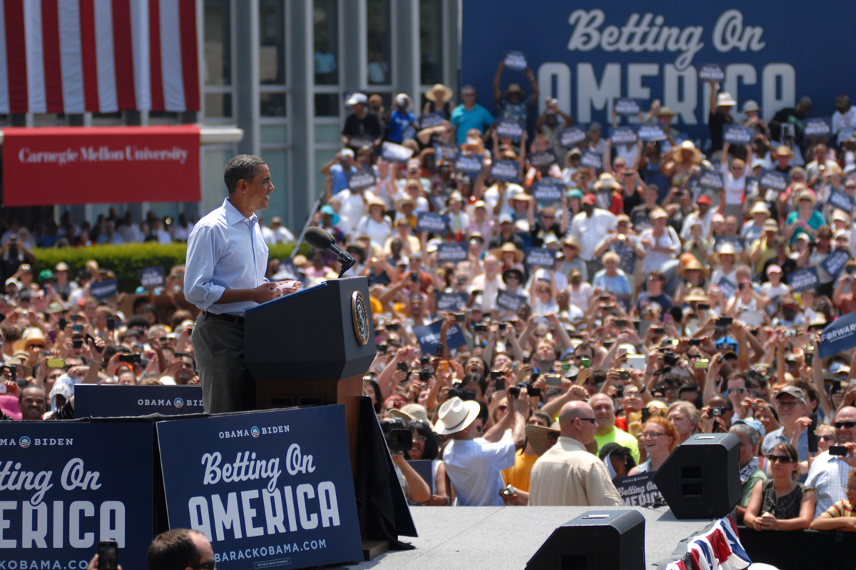 "President Barack Obama's ""Betting On America"" bus tour made its final stop at Carnegie Mellon Friday afternoon. (credit: Kate Groschner/Photo Staff)"