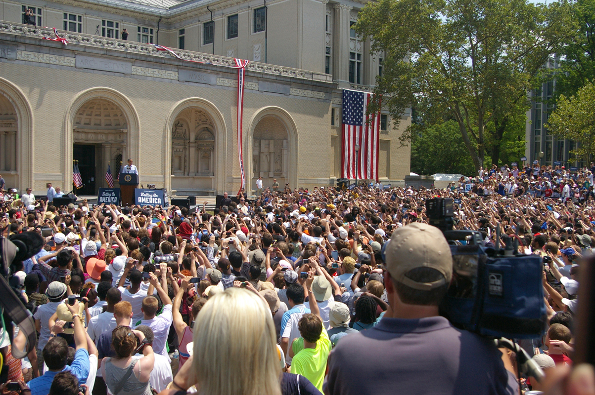 A crowd of thousands cheers President Barack Obama during an appearance at Carnegie Mellon Friday. The university gave out around 1,000 tickets for the event; others were available to the public through Pittsburgh-area Obama campaign offices. (credit: Greg Hanneman/Contributing Editor)