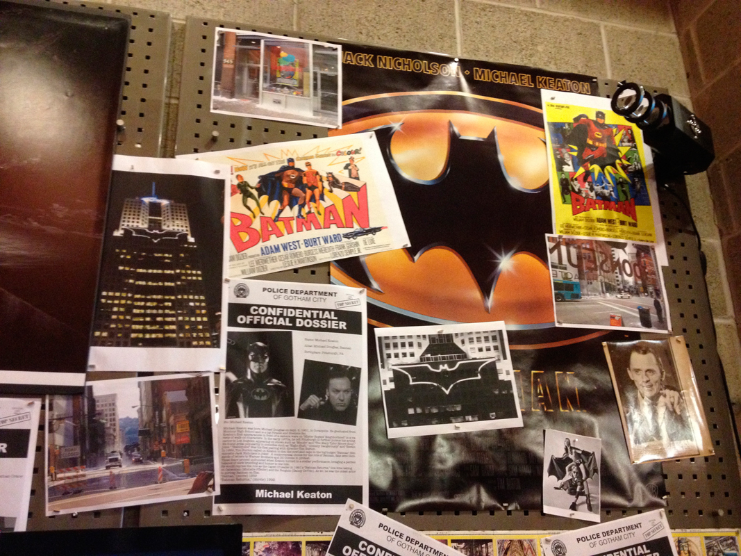 The exhibit features a range of Batman-themed items, from old comic strips to film posters and more. (credit: Laura Scherb/)