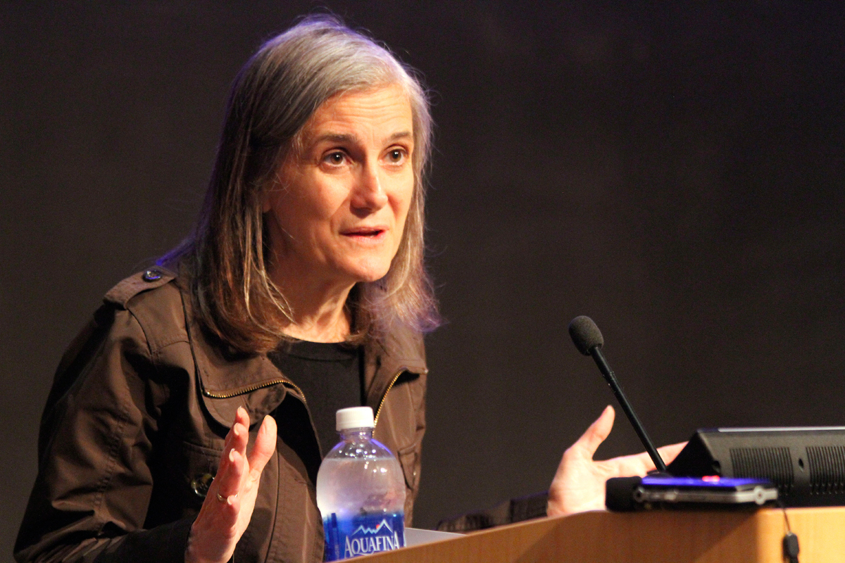 Amy Goodman spoke in McConomy Auditorium on Thursday. (credit: Jonathan Carreon/Photo Editor)
