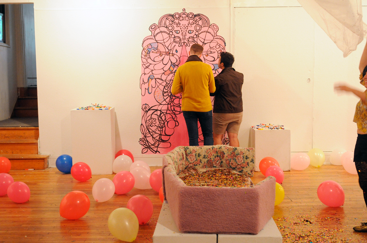 Senior art major Jessica Aguero's exhibit A Year of Wondering features a variety of materials and bright colors in a playful exhibit that explores a dark time in her life, when she was dealing with the loss of a close friend. (credit: Alex Webster/)