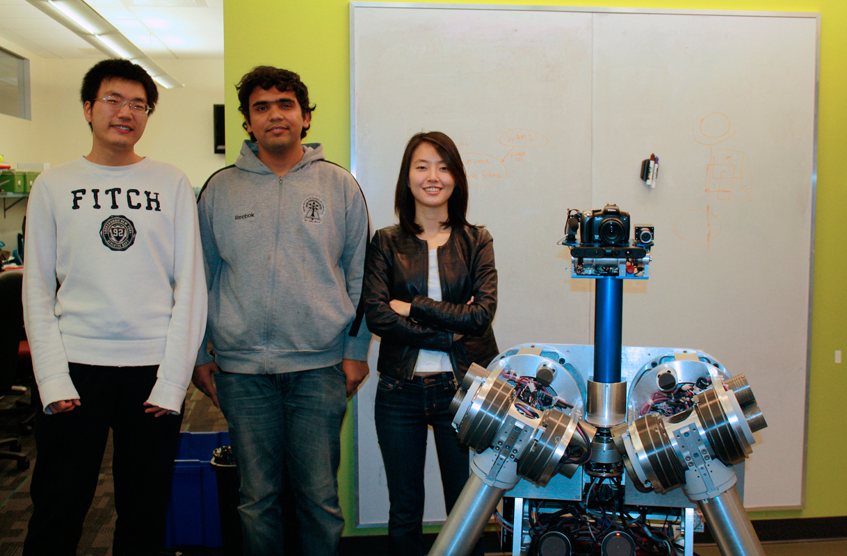 Zeyu Zheng (left), Sanjiban Choudhury (middle), and Min Kyung (right) are among five computer science students to be named Siebel Scholars. (credit: Kelsey Scott/Photo Staff)