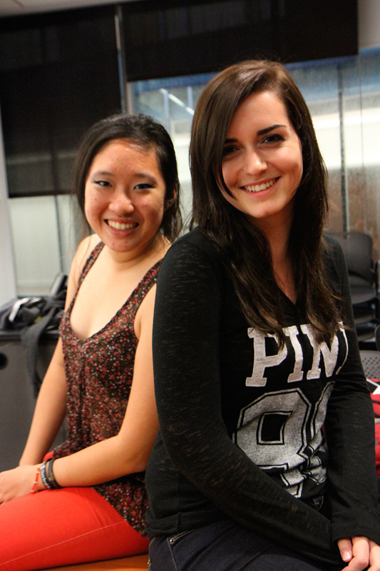 Sophomores Sandra Chen (left, computer science major) and Natalie Campbell (right, design major) published their first issue in September. (credit: Jonathan Carreon/Photo Editor)