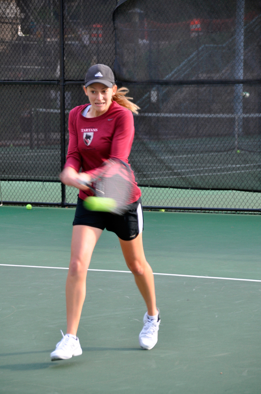 Sophomore Bryn Raschke made it to the doubles semifinals with Martin. (credit: Alan Vangpat/Senior Photographer)