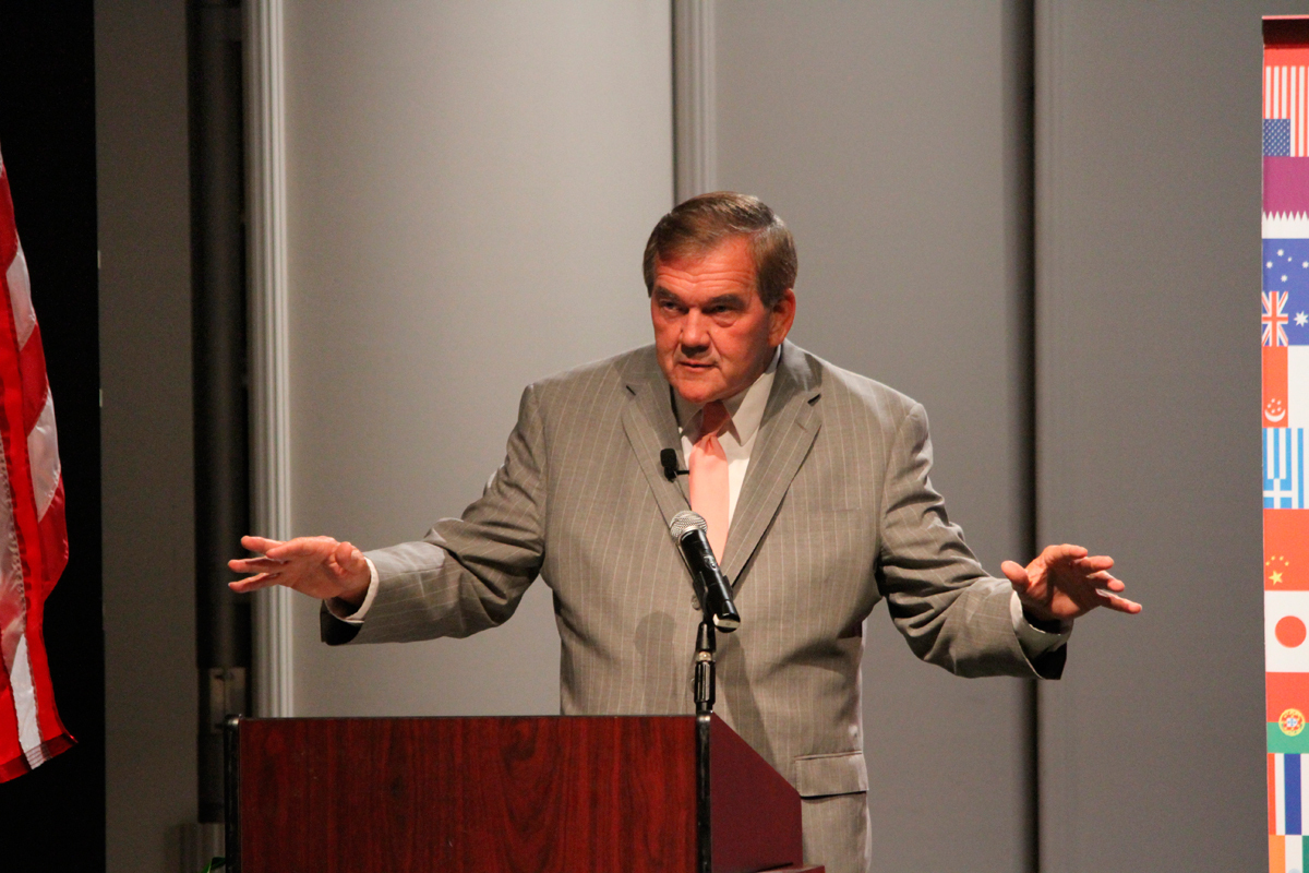 Former Pennsylvania Governor Tom Ridge relates his experiences on the ground in Vietnam to the current intricacies of foreign policy and global engagement. (credit: Jonathan Carreon/Photo Editor)