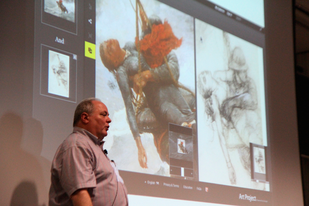 Carnegie Mellon alumnus Marc Donner presents the Google Art Project, which aims to bridge the world of art with the world of computers. (credit: Jonathan Carreon/Photo Editor)