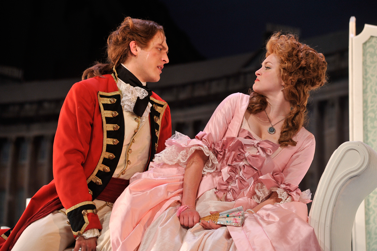 The lovestruck Captain Jack Absolute (senior musical theatre major Nick Rehberger) courts the ditsy and dramatic Lydia (senior acting major Ginna Le Vine). (credit: Courtesy of Louis Stein)