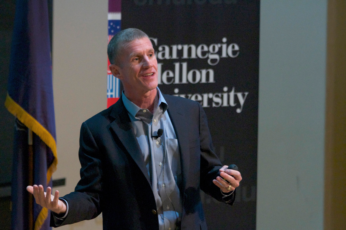 Retired four-star General Stanley McChrystal spoke in McConomy last Friday. McChrystal, who was brought to campus by the Center for International Relations and Politics, emphasized the importance of interpersonal relationships in international relations. (credit: Jonathan Carreon/Photo Editor)