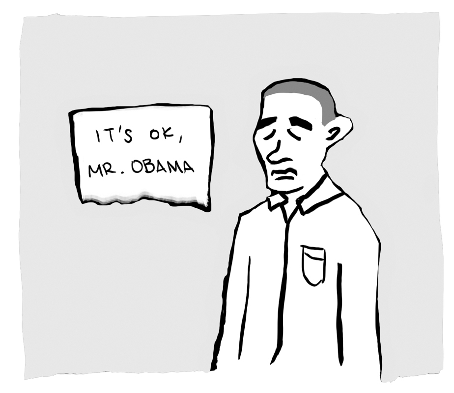 With such a stressful occupation, Obama could use a hug (credit: Adelaide Cole/Art Editor)