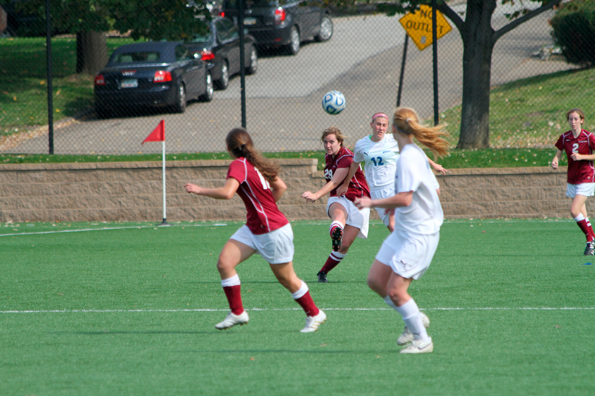 No. 29 senior Stephanie Hare (kicking the ball) has started in 14 of the Tartans' 15 games this season. (credit: Nick Ettlinger/)