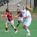 No. 29 senior Stephanie Hare (kicking the ball) has started in 14 of the Tartans' 15 games this season.