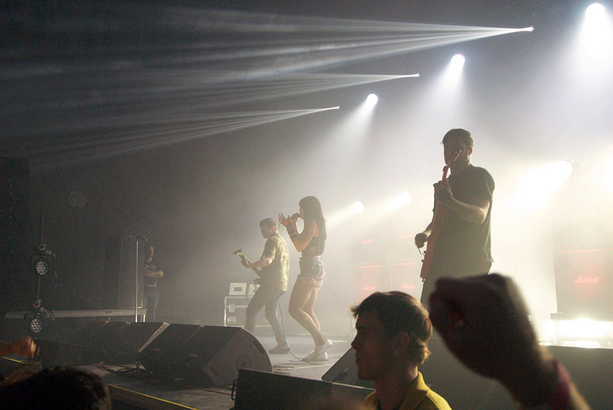 Sleigh Bells performed with stunning stage lights on Saturday night Wiegand Gymnasium. (credit: Kate Groschner/)