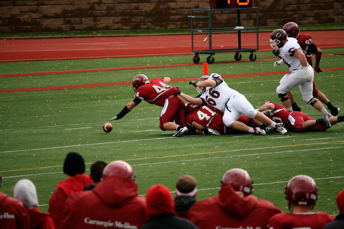 Senior outside linebacker Nick Karabin (No. 44) had 11 tackles against Waynesburg University, tied for the most in the game. (credit: File Photo by Kelsey Scott/Staff Photographer)