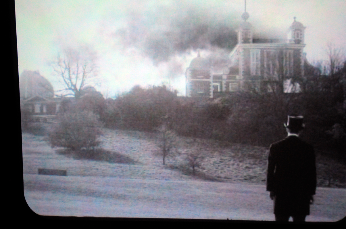 "As part of ""Greenwich Degree Zero,"" a falsified film portraying smoke rising from The Royal Observatory, Greenwich adds to the artists' imagining of the destruction of the Observatory. (credit: Chloe Lula/)"