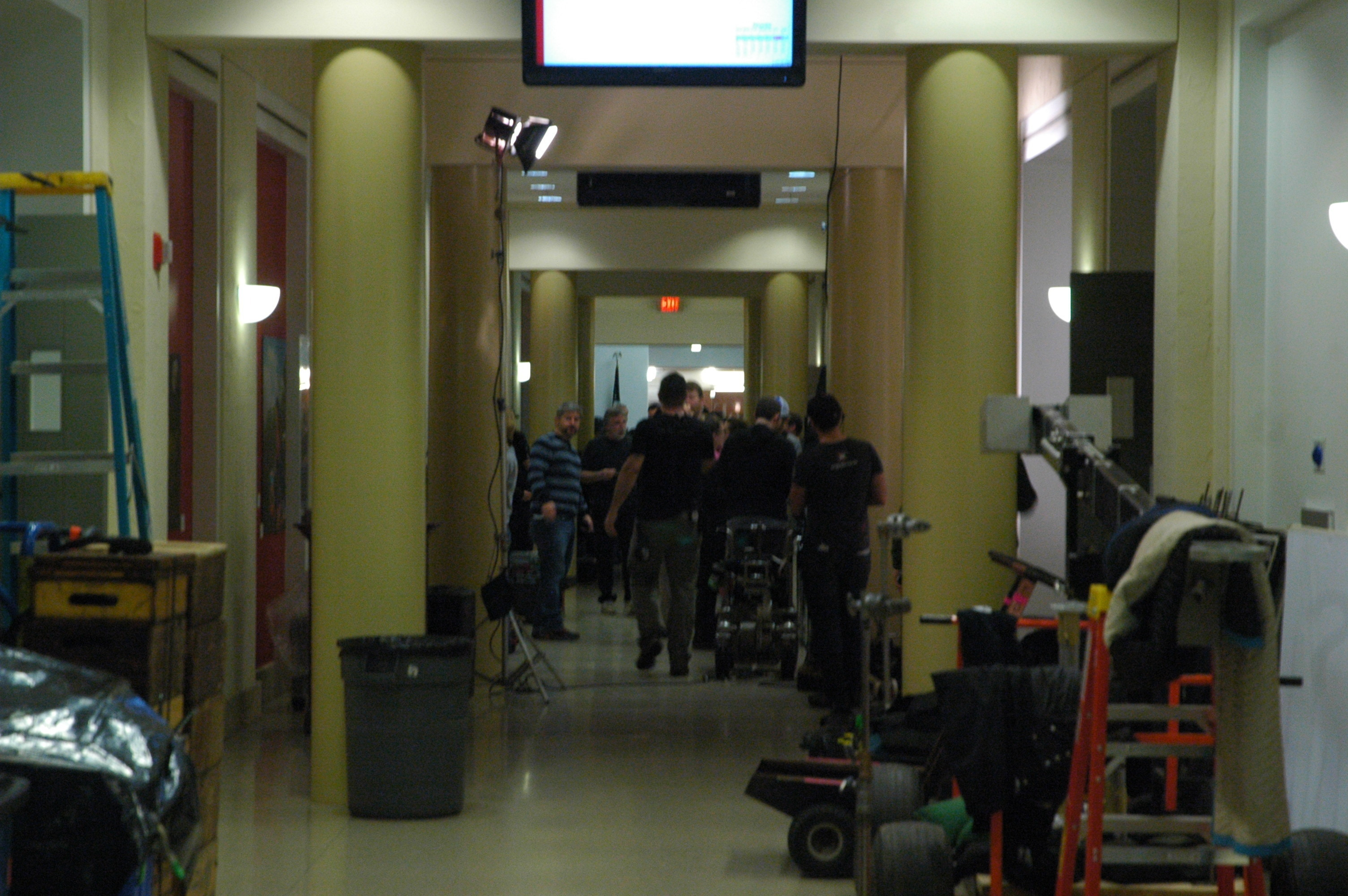 Film crews and equipment lined the halls of Posner on Friday (credit: Justin McGown/Online Editor)