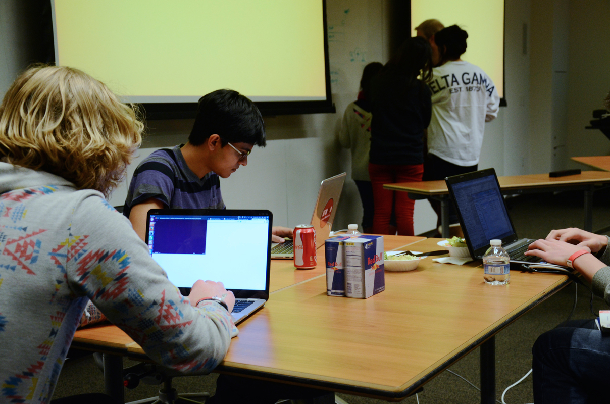 Students collaborated in teams and worked for 24 hours straight in the annual TartanHacks hackathon. (credit: Kate Groschner/Photo Editor)
