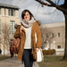Eylul Engin, a master's student in architecture, wears an infinity scarf for added warmth.