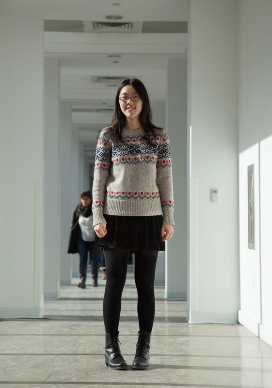 Sophomore computer science major Celine Nguyen stays warm in a velvet skirt with tights. (credit: Peter Leeman/)