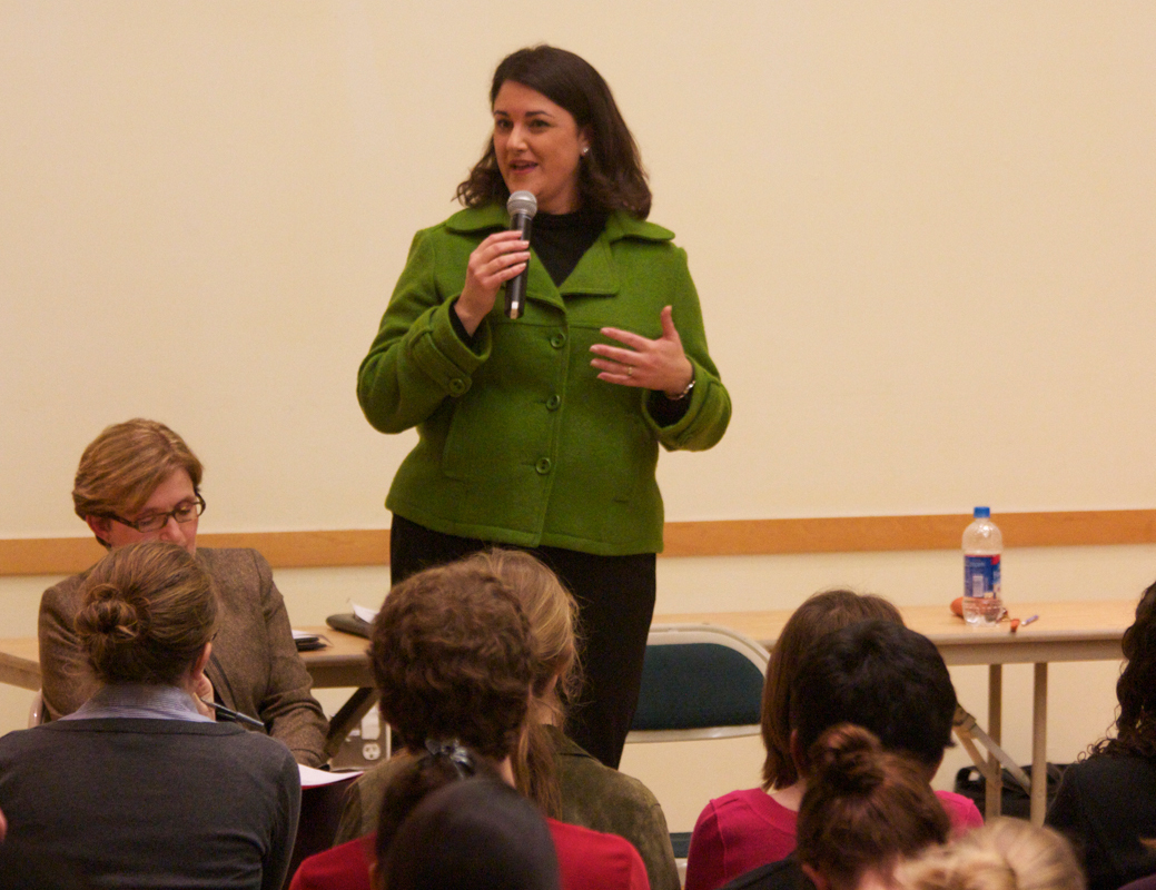 Gina Casalegno discussed community well-being at the forum. (credit: Jonathan Carreon/Contributing Editor)