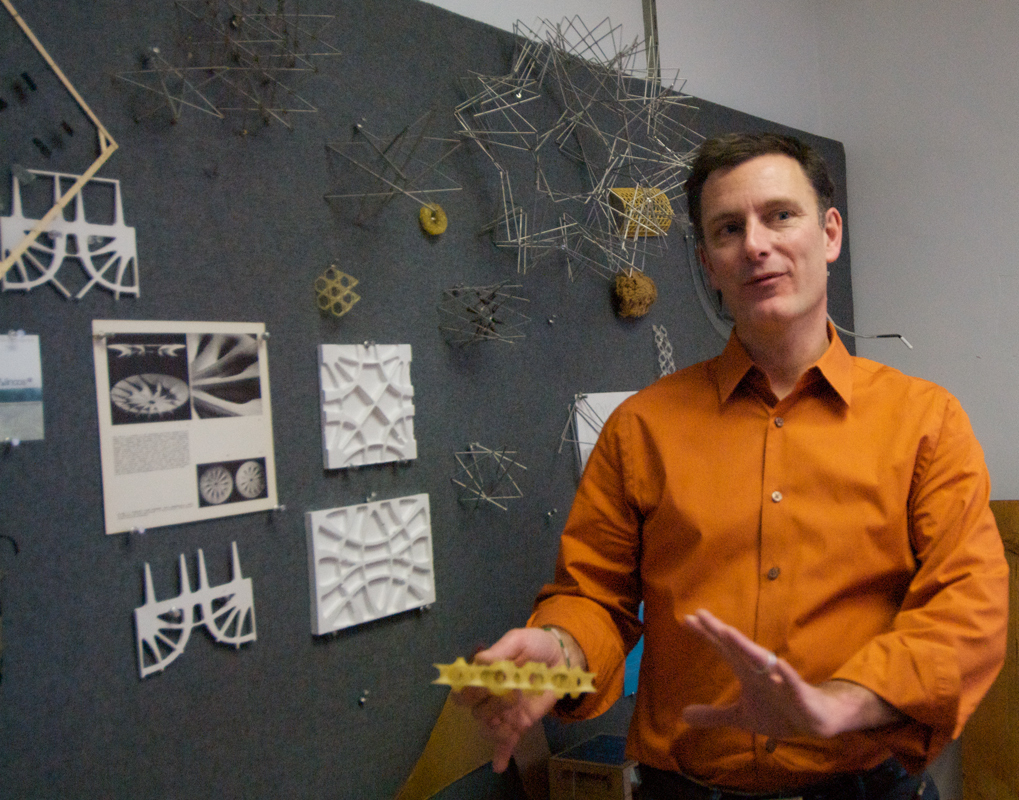 Architecture Professor Dale Clifford explains the concepts behind some of his biologically inspired architecture projects. (credit: Kate Groschner/Photo Editor)