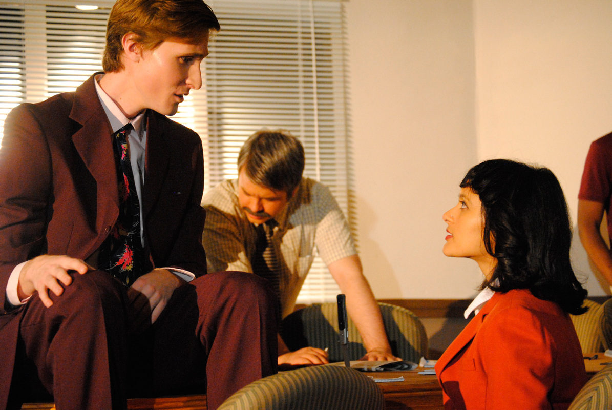 Despite the title, Scotch'n'Soda's production of 12 Angry Men featured a cast of mixed gender, including fifth-year architecture major Richman Neumann (Juror 12, left) and master's design student Shree Lakshmi Rao (Juror 11, right). (credit: Haley Bryant/)