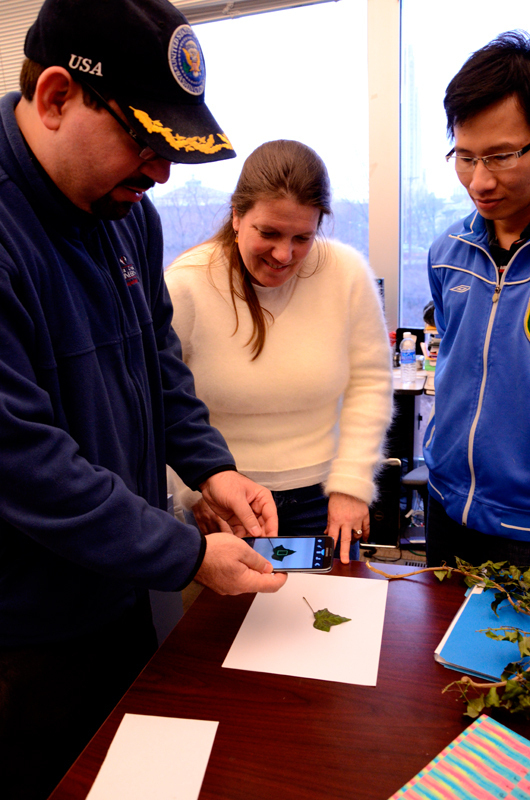 Marios Savvides, left, and Cynthia Morton, center, are working on an app that will be able to recognize poisonous plants.  (credit: Kate Groschner/Photo Editor)