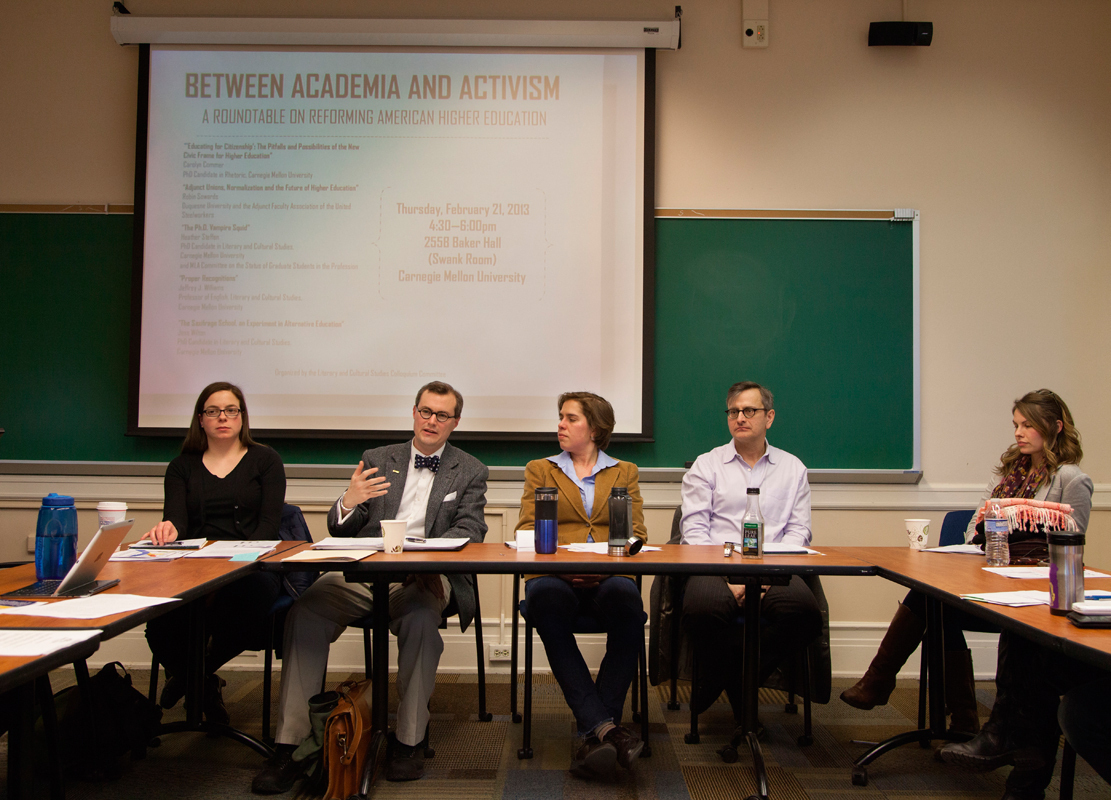 A panel of Heather Steffen, Robin Sowards, Jess Wilton, Jeffrey J. Williams, and Carolyn Commer discussed critiques and improvements in higher education at a round-table discussion.  (credit: Peter Leeman/)