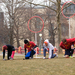Members of the CMU Marauders, Carnegie Mellon's Quidditch team, prepare for the start of a weekday practice on the Cut.