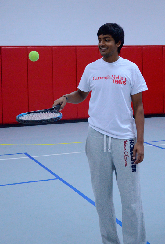 First-year Abhishek Alla is known on the Carnegie Mellon tennis team for his casual style, good sense of humor, and tennis talent.  (credit: Kate Groschner/Photo Editor)