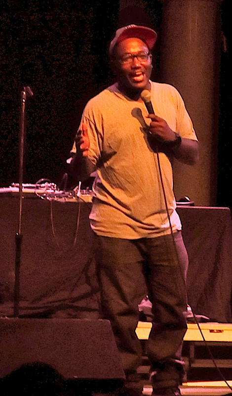 Comedian Hannibal Buress brought a DJ and dancers to perform with him in a high-energy performance at Mr. Small's Theatre. (credit: Xiyu Wang/)