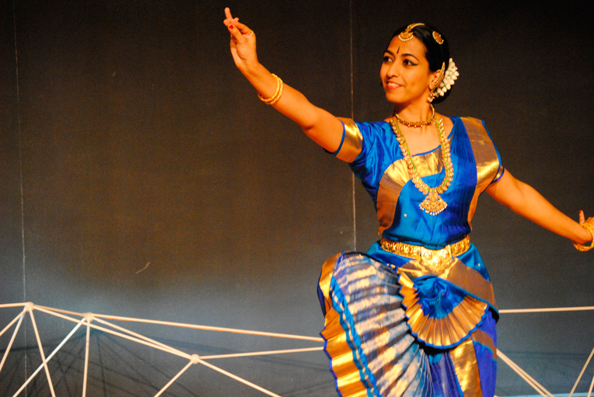 First-year MBA student Chinmayi Bhavanishankar performed and spoke of her passion for Bharatanatyam dance at Sunday's TEDx event.  (credit: Haley Bryant/)
